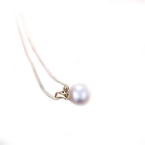 Bang-pa Luxury Pearl Necklace 100% Gold Pearl Pendant Necklace Genuine18K Yellow Gold With Pearls For Women GRASS White