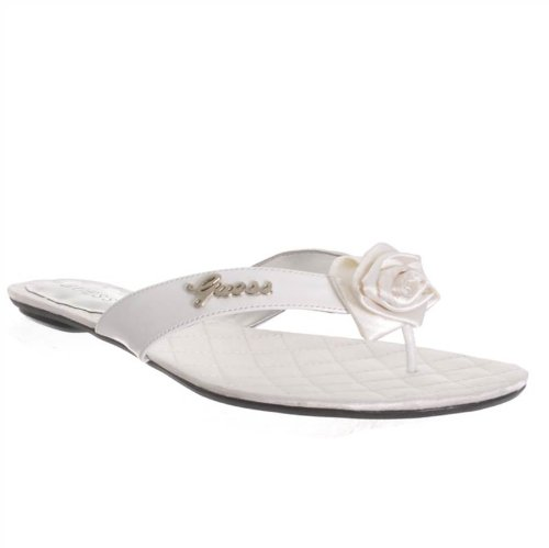 GUESS Jakylyne 4 Womens Size 8 White Textile Thongs Sandals Shoes New/Display (Sandals Leather Guess Patent)