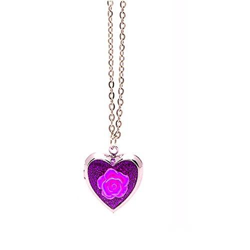Frogsac Flower Glitter Pave Heart Locket Pendant Silver Chain Necklace (Purple - Flower Glitter) -