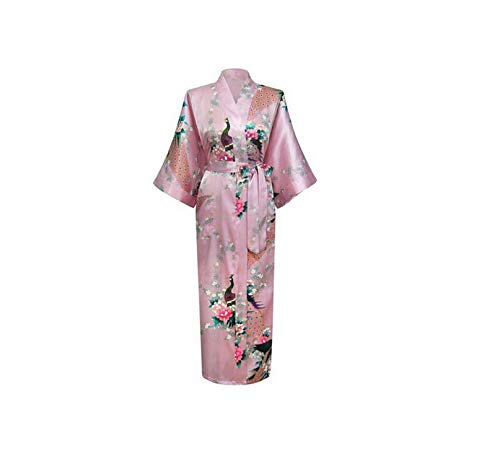 White Chinese V Neck Robes Rayon Silk Sleepwear Long Printed Nightgown Wedding Bride Robe,Long,XXXL