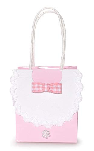 Favor Bag Baby Bib Embellishments Pink 2.5 X 3 inches (12 Pack)