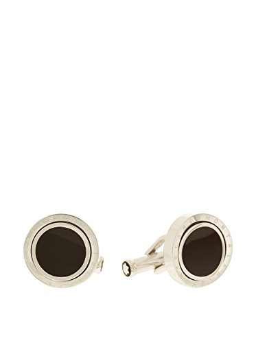 montblanc-cuff-links-round-turning-steel-with-black-onyx-inlays-104505