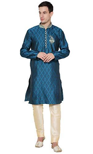 - SKAVIJ Men's Art Silk Kurta Pajama Set Indian Ethnic Dress (Small, Turquoise)