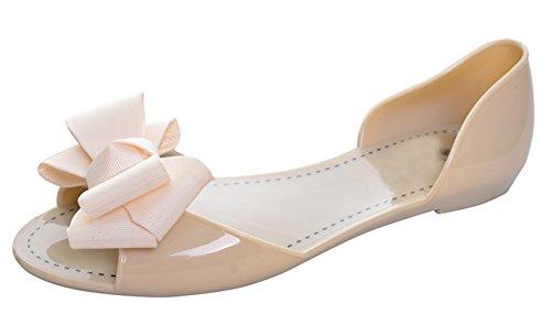 Redondos Bailarinas Cómodos Beige Suave Fisos Fondo De Planos Shoes Zapatos Ballet Abierta Verano Puntera Conducción Casual Minetom con Bowknot Mujer Flats wU47q4
