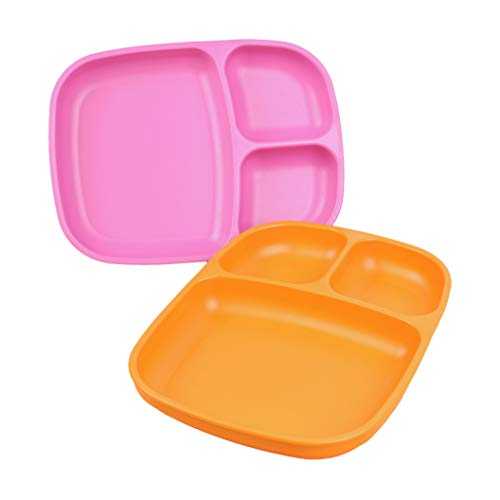 (Re-Play Made in USA 2pk Large Sandwich Divided Plates with Deep Sides and Three Compartments for Easy Self Feeding - Bright Pink/Orange)