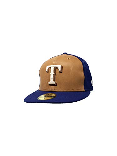 - New Era Texas Rangers 59Fifty Fitted Hat MLB Straight Brim Baseball Caps (7, Blue/Wilson Leather)