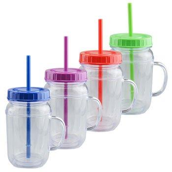 Plastic Mason Jar Mugs With Lids Straws 165 Oz 4 In Set