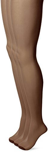 No Nonsense Women's Ultra Sheer Regular Pantyhose with Reinforced Toe , Jet Brown, E,(Pack of (Reinforced Toe Pantyhose)