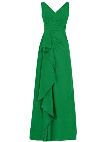 Cdress Femmes Volants En Mousseline De Soie Longue Robes De Demoiselle D'honneur Robe De Soirée Bal Col V Vert
