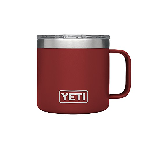 (YETI Rambler 14 oz Stainless Steel Vacuum Insulated Mug with Lid, Brick Red)