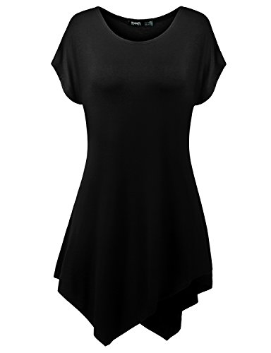 Thanth Womens Short Sleeve Comfy Loose Fit Long Tunic Top With Handkerchief Hem BLACK 4XL