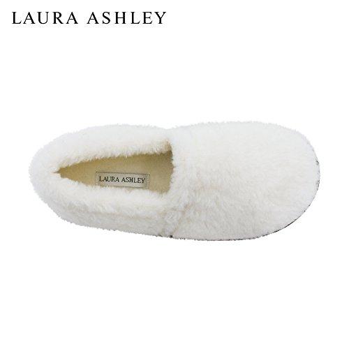 Laura Ashley Ladies Faux Sherpa Closed Back Zapatillas Acolchadas (ver Más Colores Y Tamaños) Marfil
