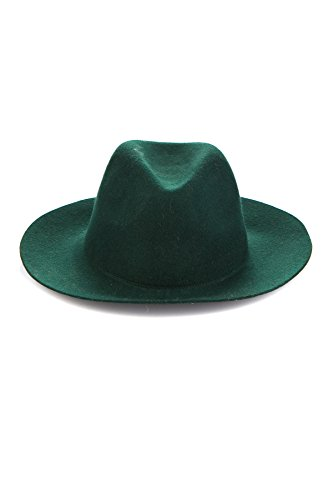 Unisex Fedora Hat Wide Brim Wool Bowler Hat Floppy Cowboy Trendy (Green)