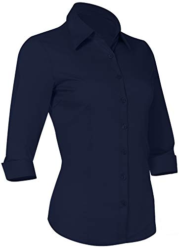 Pier 17 Button Down Shirts for Women 3 4 Sleeve Fitted Dress Shirt and Blouses Work Top (Medium, New Navy)