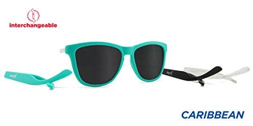 Kameleonz Caribbean Sunglass, Matte Turquoise Frame, Black UV400 - Eyewear Caribbean Sun