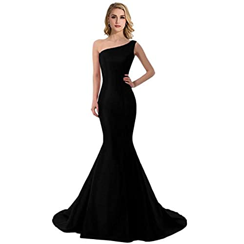 DLFASHION Womens One-Shoulder Mermaid Satin Evening Prom Dress Size 2 Black