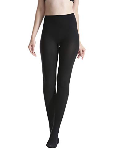 Zeraca Women's Footed Opaque Tights with Control Top 80 D (Black, 3) ()