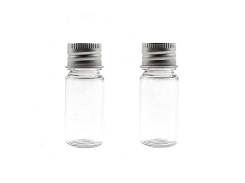 erioctry 6PCS 10ml/15ml/20ml/30ml Empty Clear Travel Portable Refillable Plastic Essential Oils Powders Creams Small Bottle Jar Container with Aluminum Silver Lid (15ml/ 0.5oz) ()