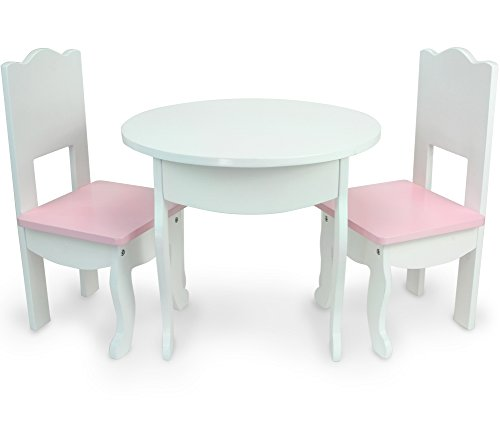 Sophia's Doll Table & Chairs Set by, Fits American Girl Dolls and More, White Doll Table & Two Doll Chairs Set for a Doll Tea Party! Doll House Furniture for American Doll -
