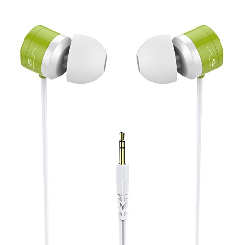 In Ear Earphones, USTEK WP-593 Earbuds Wired Headphones Waterproof IPX7 Compatible with All 3.5mm Enable Devices Color White&Green