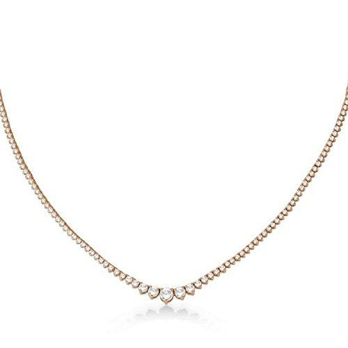 (Graduated Eternity Diamond Tennis Necklace 18k Rose Gold (5.25ct))