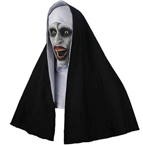 The Nun Horror Mask Cosplay Valak Scary Latex Masks with Headscarf Full Face Helmet Halloween Party Props 2018 (Multicolor)