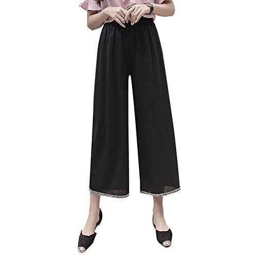 858d8556925 free shipping QZUnique Women s Ice Silk Vertical Wide Leg Pants Straight  High Elastic Waisted Lounge Loose