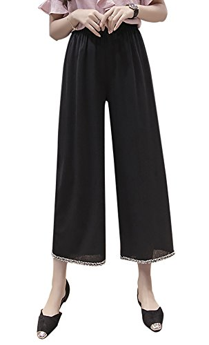 con Cintura Negro Sueltos Popoye de Seda Ancho Alta Pantalones Hielo Pantalones para Pantalones Mujer xOxq7vU6