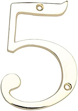 Gatehouse 4 Polished Brass Number 7
