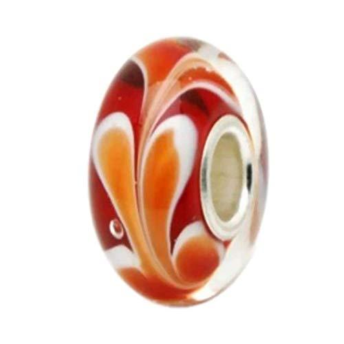 Red and Orange Sweet Dream Garden .925 Silver Core Murano Glass Bead Fits European Charms Pandora, Trollbeads Chamilia,silverado,biagi Bracelets