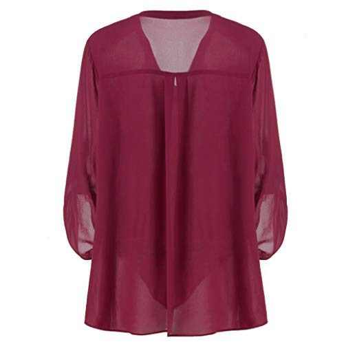 Blouse Shirt,Womens Chiffon Top Plus Size V-Neck Adjustable Sleeve Solid Tunic T-Shirt by MEEYA ()