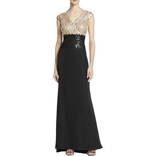 Tadashi Shoji Women's Sequin/Crepe-2-Tone-Double V-Neckline-Slvls Gown, Ginseng/Black, (Double Ginseng)