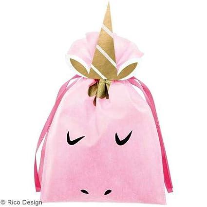 Gran bolsa de regalo de tela rosa - Unicornio - 30 x 45 cm ...