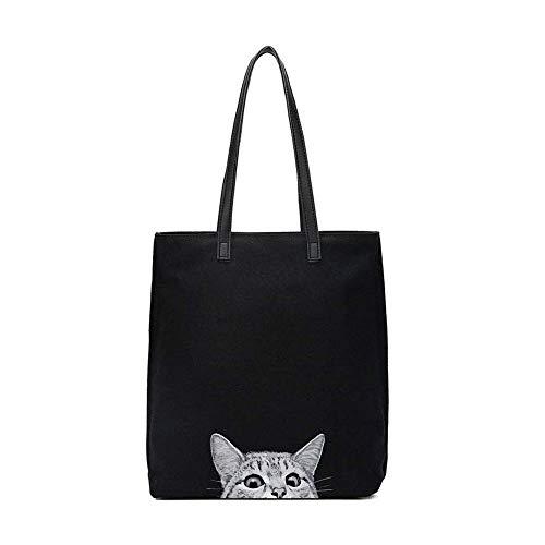 Women Canvas Handbag Meelife Shoulder Bag Cat Big Tote Bag