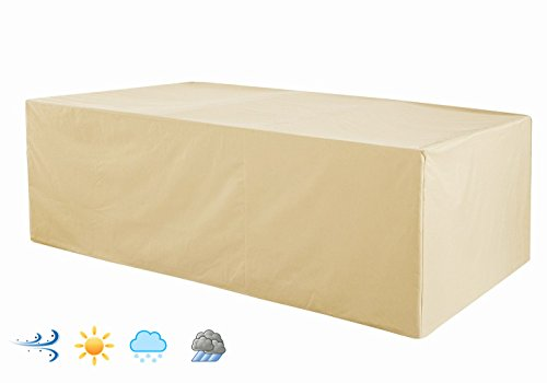 Rectangular Patio Table Cover (Patio Rectangular Table and Chair Set Cover, Water-Resistant, Outdoor All Weather Protection, Beige Color (92 L x 60 W x 33 H))