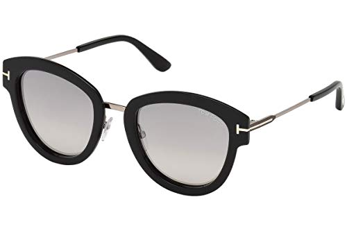 Tom Ford FT0574 Mia-02 Sunglasses Shiny Black Light Ruthenium w/Grey Mirror Lens 14C TF574