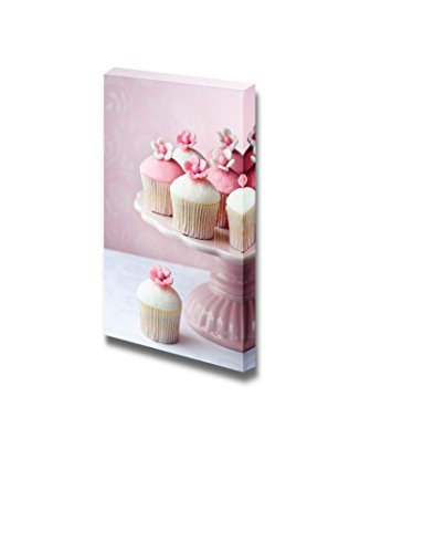 Canvas Prints Wall Art - Cupcakes with Pink Background - 48