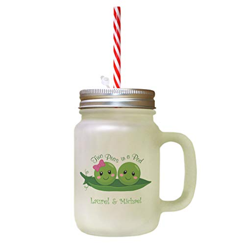 Personalized Custom Text Two Peas in a Pod Frosted Glass Mason Jar With Straw