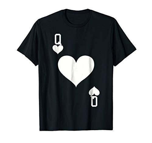 Mens Queen of Hearts Card Halloween Costume T-Shirt (White) XL Black -
