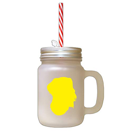 Yellow German Wirehaired Pointer Silhouette Frosted Glass Mason Jar With Straw