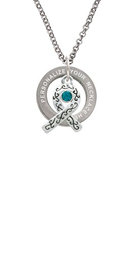 Delight Jewelry Scroll Ribbon with Teal Crystal Custom Engraved Affirmation Ring Necklace