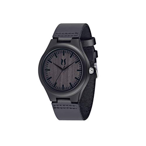 Wood Watches for Men, Fashion Handmade Gift Wood Wrist Watch, Black Sandalwood Quartz Analog Leather Strap Casual Mens Ebony Wooden Watch ()