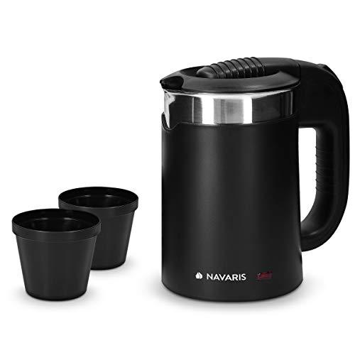 Navaris Hervidor de Agua de Viaje 0 5L - Mini Tetera para hervir Agua con 2 Tazas - Mini Calentador electrico y portatil para Camping o Viaje 1100W
