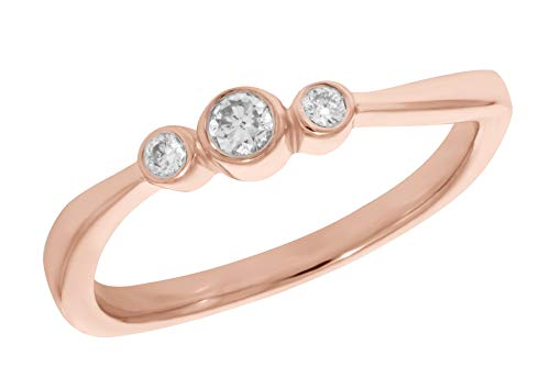Prism Jewel 0.12 Carat G-H/I2 Natural Bezel Set Diamond Three Diamond Ring, 10k Rose Gold, Size 7.5 ()