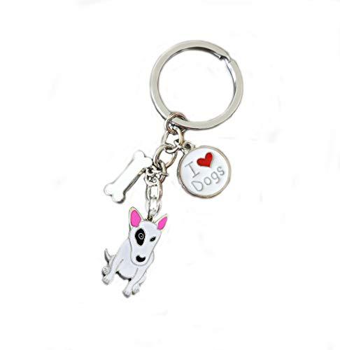 Keychains, Lovely Dog Key-ring Portable Metal Keychain Keyring Key Decor Car Keyring Tag (Bull - Bull Metal Keychain