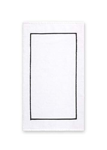 - Calvin Klein Home Marcel Bath Rug, White/Black