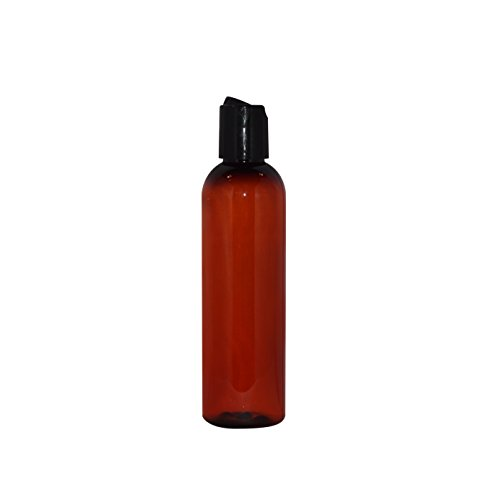 WM (Pack of 24) 4 oz Empty Bottles - Refillable Plastic Container w/Press Disc Cap – PET Plastic Cosmo Bullet Bottle for Travel, Oils, Soap, Shampoo, Lotion, Aromatherapy and More (4 oz, Amber)