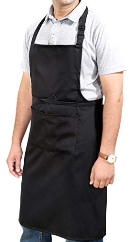 Ruvanti Professional Grade Black Aprons for Men/Women.Adjustable Neck Strap and Size M to XXL(Large 34'x28') Comfortable and Cotton Enrich Chef Apron/Barber Apron/Canvas Apron with 2 Pockets.