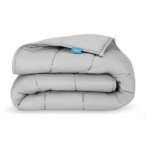 LUNA Weighted Blanket (20 lbs - 60x80 - Queen) | 100% Organic Cooling Cotton | Hypoallergenic Glass Beads | Heavy for Calmer Days and Restful Nights | Kids or Adult | Designed in USA | Grey ()