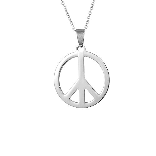 AOCHEE Unisex Stainless Steel Peace Symbol Pendant Necklace 18